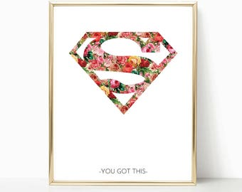 Supergirl, Superwoman, superhero print, Supergirl Print, Superwoman Print, Girl Superhero Wall Art, Girl Room Prints, Girl Superhero