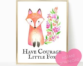 PRINTABLE ART, nursery decor, woodland nursery, nursery decor, fox nursery decor, fox print, wall art, woodland animals, forest animals,
