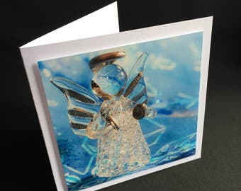 Christmas card glass Angel with cymbals