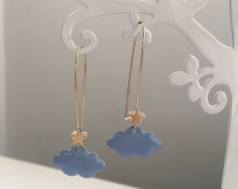 """""""Star-clouds"""" blue and gold earrings"""
