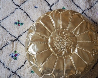 Gold Moroccan handmade, hand embroidered pouf OTTOMAN - Unfilled