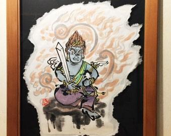 Fudo Myo-O in the fire picture of sumi-e art