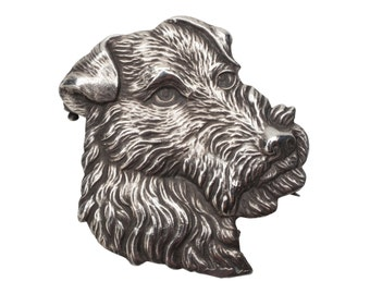 Vintage Sterling Silver Airedale Kerry Blue Terrier Dog Brooch Limited Edition