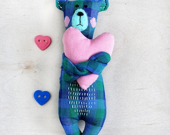 bear stuffed toy, Woodland animal toy, cute Bear, textile Stuffed animal, baby shower gift, hand embroidery, cotton Soft Toy, Kids Toy