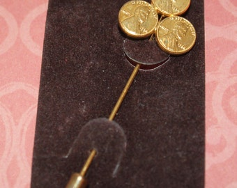 Vintage Pin, Good Luck Pin, Three Faux Penny Gold Tone, Lucky Pin