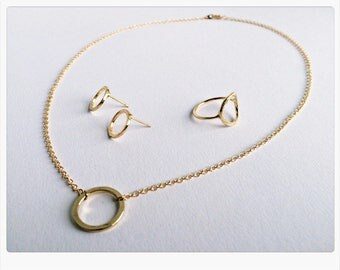 Jewelry Set GOLD, Circle of Life, Karma: necklace, ring, earrings