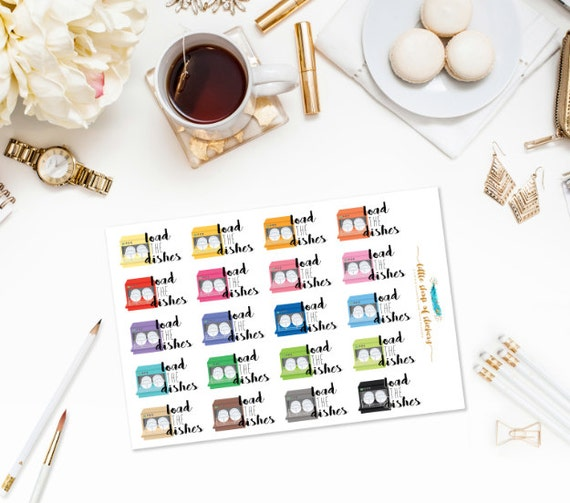 Load The Dishes    Planner Stickers, Household Chore Stickers, Dishwasher Stickers, Do The Dishes, Planner Decor, Decorating Stickers