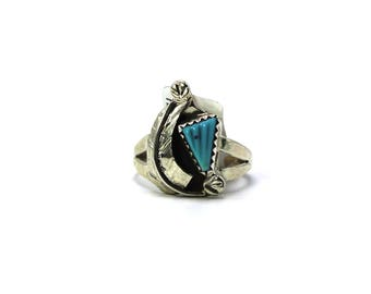 Navajo Handmade Sterling Silver Turquoise leaf Ring