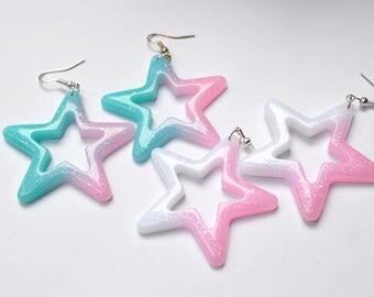 Big star earrings glitter sparkles pink