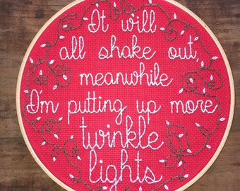 """Twinkle Lights - Hand Embroidery - You've Got Mail - 8"""" Hoop"""