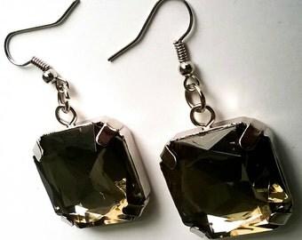 Renetta's Crystal Square Glass Earrings
