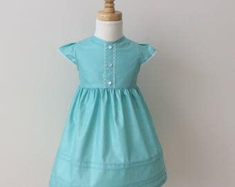 Girls Pintuck Dress with Lace Trim - Size 0, Vintage Style Dress, Summer Dress, Blue Cotton Dress, READY TO SHIP