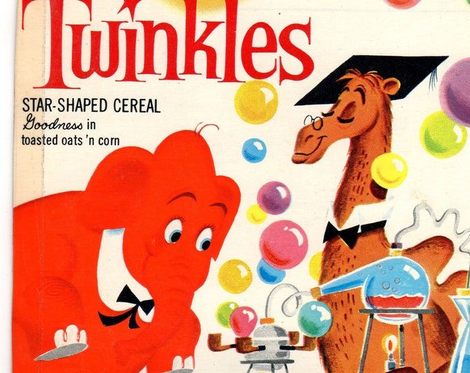 1960's Twinkles General Mills Cereal Box Book Twinkles and the Double Bubbles