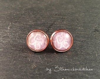 Earrings rose gold flower grey