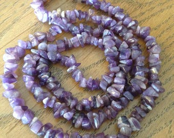 """Amethyst Stones 34"""" Necklace"""