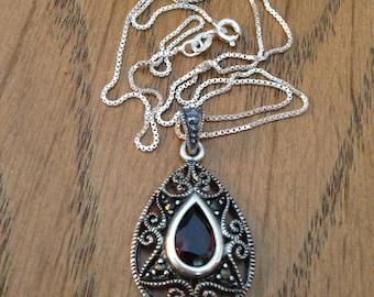 Sterling Silver Red Garnet Pendant