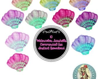 Watercolor Seashell Clipart, Seashells, Seashell Art, SeaShell Clipart, Watercolor Sea Life, Watercolor Nature, Nautical Watercolor