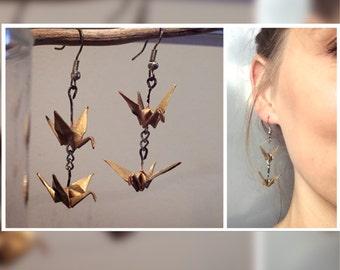 Origami crane earrings gold