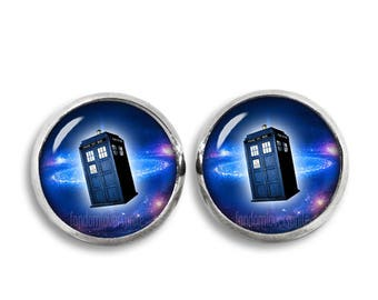 Tardis Stud Earrings Police Box Doctor Who Earrings 12mm Fandom Jewelry Fangirl Fanboy