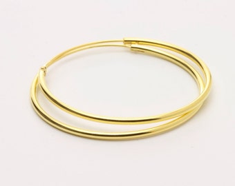 35mm Gold Plated Sterling Silver Hoops / Gold Classic Hoops / Everyday Hoops / WS55