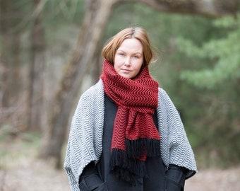 Handmade Handwoven Maxi scarf Alpaca and Merino Wool materials from Italy Warm Soft