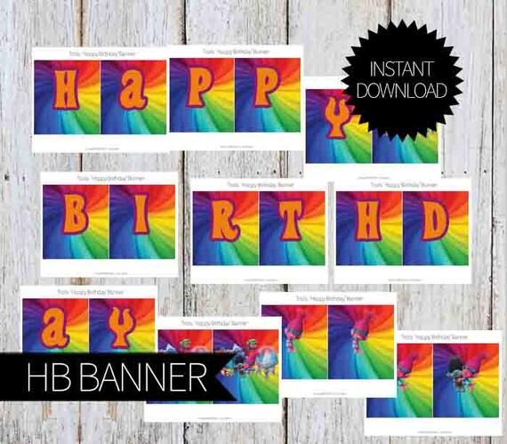 Trolls Happy Birthday Banner We Can Easily Add An: TROLLS Birthday Party PRINTABLE 'Happy Birthday