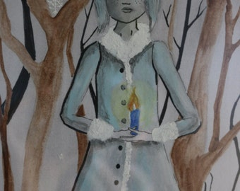 Traditional illustration with  watercolor A5 format : Lady Winter season