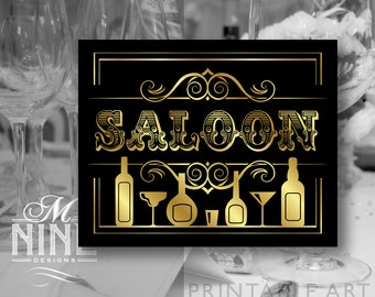 """Black and Gold Party Printable Sign """"SALOON"""" Party Signs, Printable Party Download, Wedding Bar Signs BWBG57"""