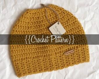 Crochet Pattern // Haley: The Messy Bun Beanie // Easy // Written Tutorial // Crochet Hat Tutorial