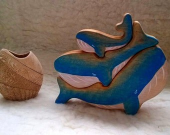 3 Wooden Whales Puzzle// birch// Animal Puzzle // Wooden toys // Whale figurine // Handmade Eco Friendly Toy Waldorf Ocean