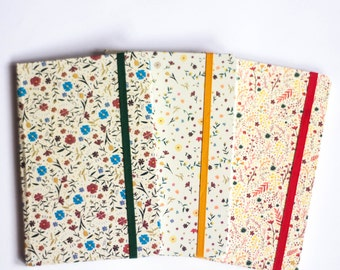 Floral pocket size journal, handmade notebook, sketchbook, warm colors patern