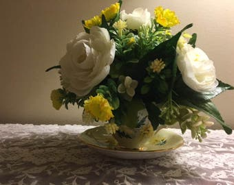 Teacup and Saucer Floral Arrangement with Antique cup and saucer Colclough