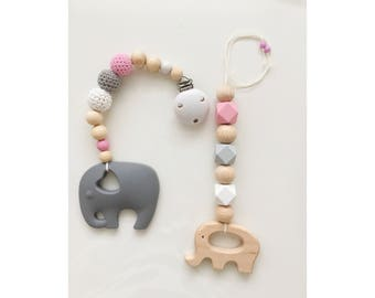 Maxicosikette / baby shell pendant and biting necklace with silicones elephants