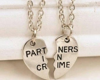 Partners In Crime retro quirky 2 pendant necklace.
