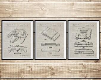 Nintendo Wall Decor, Patent Print Group, Gamer Art Poster, Nintendo 64 Print, N64 Console Print, Nintendo Art Print, N64, INSTANT DOWNLOAD