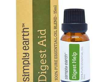 Digest Help Essential Oil Blend by Simply Earth - 15ml, 100% Pure Therapeutic Grade