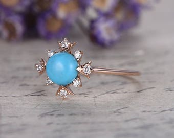 6mm Round Blue Turquoise Engagement Ring,Turquosia wedding ring,Solid 14K rose Gold bridal ring srt,Blue topaz Floral Halo ring,custom ring