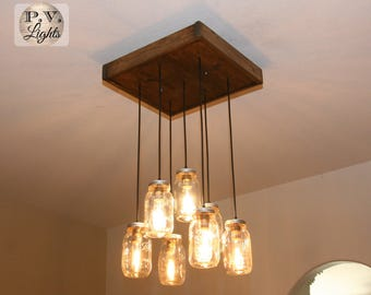 Mason Jar Handscraped Pendant Light - Rustic Ceiling Fixture - Industrial Chandelier - 7 pendants