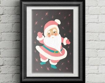 Midcentury Modern Santa Wall Art, 11 x 17 Christmas Decoration, Vintage Christmas Wall Decor, Pink and Blue Christmas Artwork