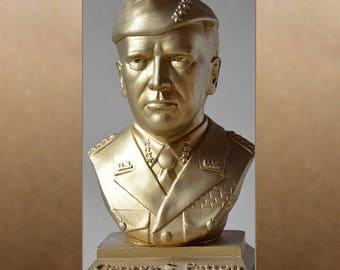 George S. Patton color gold bust figure sculpture