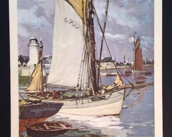 Raymond Wintz vintage midcentury seascape harbor lithograph Fishing Boats