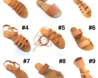 Handmade Greek  Natural Leather Sandals, comfortable rubber soles.