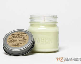 Natural Soy Candle, Mason Jar Gift Candle -Choose a Scent