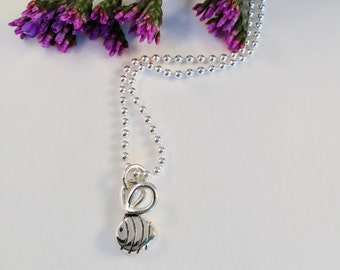 """Baby bumble bee """"Buzz"""" pendant hand made sterling silver"""