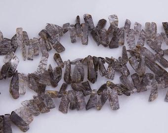Tourmalated Quartz Gemstone Beads, Long Flakes, Priced per Strand, Semiprecious Stone, Top Drilled, Natural Gemstones, GS016QUA