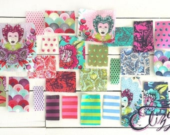 Elizabeth, Complete, Fat Quarter Bundle, by, Tula Pink, for, Free Spirit, FQ, half yard, 1/2 yd, cotton fabric, quilting