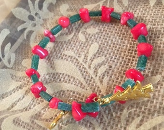 Christmas-Red Coral and Green Aventurine Bracelet