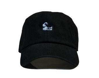 Wave Emoji Embroidered Baseball Hat | Black