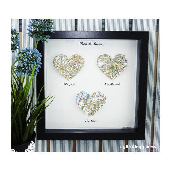 we met we married map print wedding gift paper anniversary