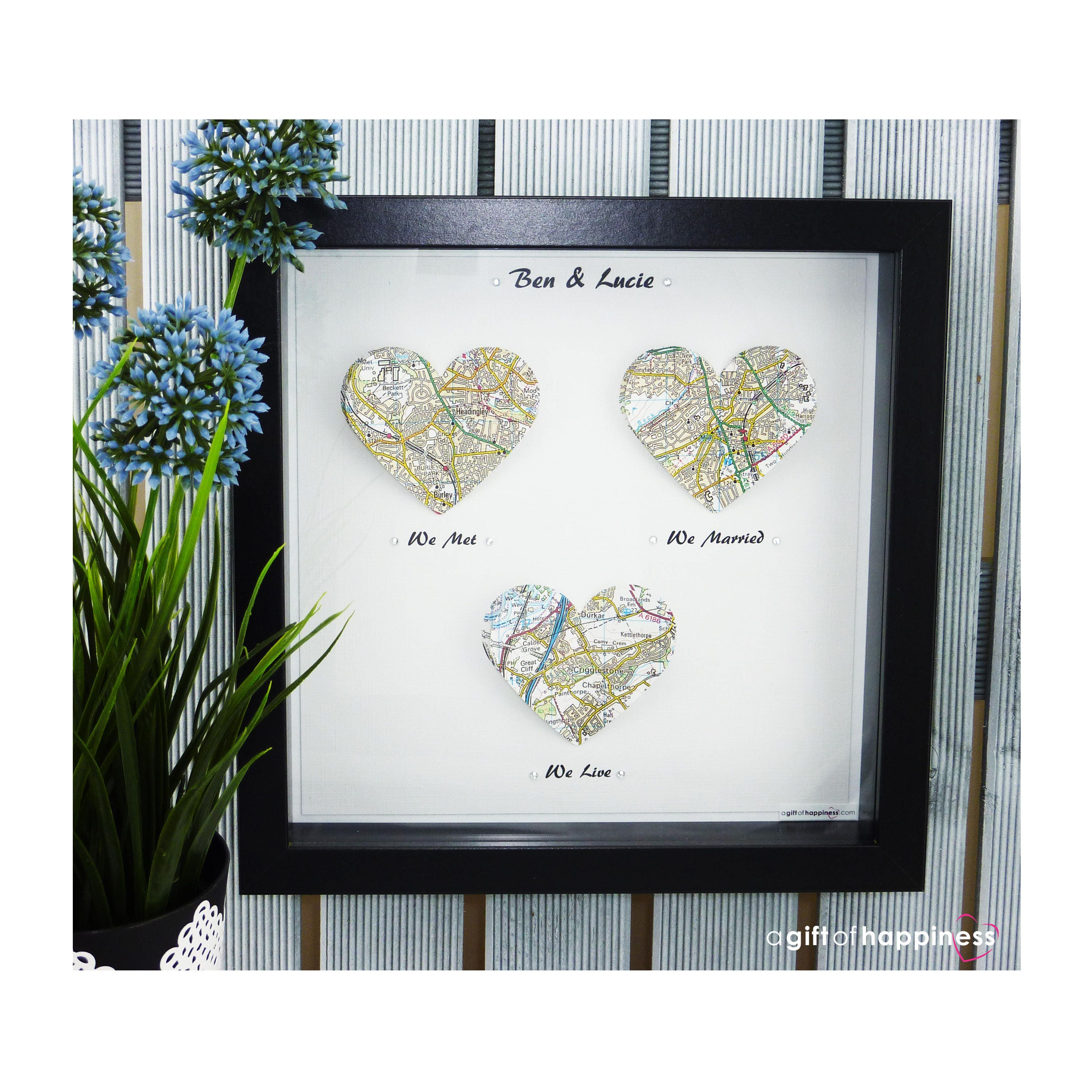 we met we married map print wedding gift paper anniversary first